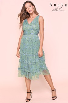 Anaya V neck Tulle Midi With Gathered Ribbon Hem