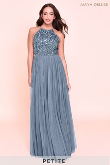Maya Petite Halterneck Delicate Sequin Maxi Dress