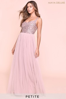 Maya Petite Sweetheart Neckline Sequin Detail Top Maxi Dress
