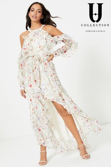 Forever Unique Floral Cold Shoulder Asymmetric Maxi Dress
