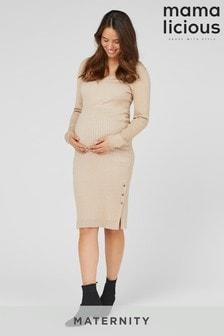 Mamalicious Knitted Maternity Midi Dress