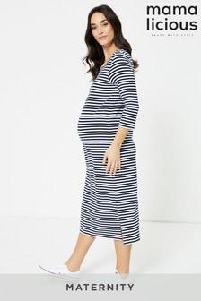 Mamalicious 3/4 Sleeve Stripe Maternity Dress