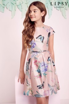 Lipsy Girl Metallic Georgina Print Dress