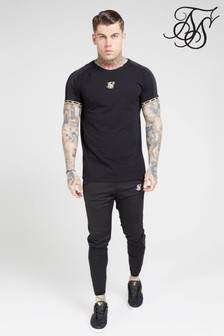 SikSilk Short Sleeve Raglan Straight Hem Tape Tee