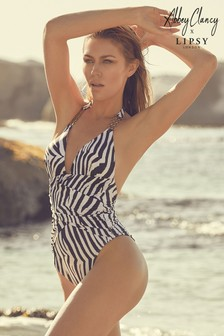 Abbey Clancy x Lipsy Zebra Pleated Swimsuit