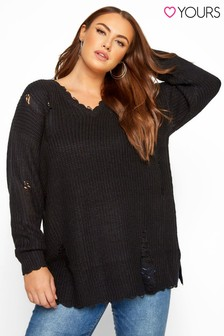Yours Curve Distressed Knitted Jumper