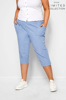 Yours Limited Curve Cool Cotton Crop Trousers