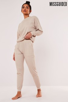 Missguided Soft Touch Rib Lounge Tracksuit