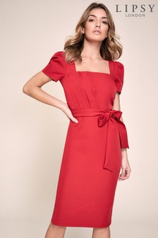 Lipsy Puff Sleeve Pleated Midi Dress