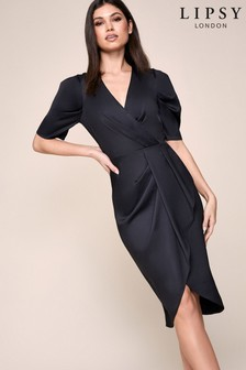 Lipsy Puff Sleeves Wrap Dress