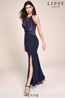 Lipsy Petite Sequin Organza Built Up Maxi Dress