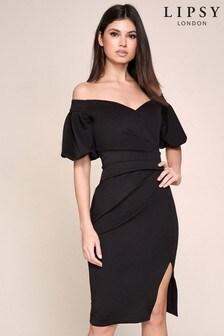 Lipsy Puff Sleeve Bardot Dress