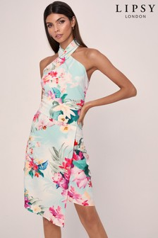 Lipsy Printed Twist Halter Bodycon Dress