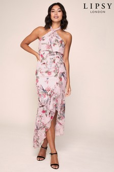Lipsy Twist Halter Ruffle Maxi Dress