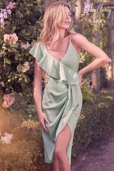Abbey Clancy x Lipsy Satin Ruffle Dress