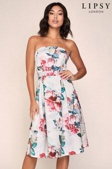 Lipsy Bandeau Satin Prom Dress