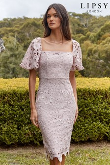 Lipsy Lace Square Neck Puff Sleeve Dress