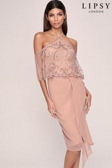 Lipsy Cold Shoulder Hand Embellished Dress