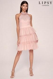 Lipsy Halter Neck Hand Embellished Ruffle Dress