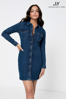JDY Denim Button Through Mini Dress