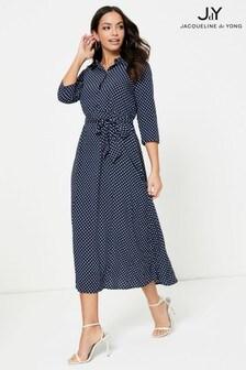 JDY 3/4 Length Sleeves Printed Tie Waist Shirt Dress