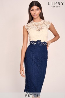 Lipsy Petite Lace Contrast Bodycon Midi Dress