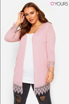 Yours Curve Lace Trim Hem Cardigan