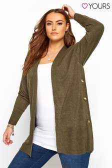 Yours Curve Side Button Cardigan