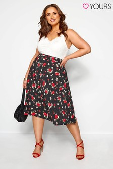 Yours Curve Midi Riviera Rose Panel Skirt