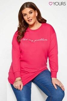 Yours Curve Sweatshirt mit Rundhalsausschnitt