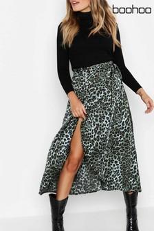 Boohoo Satin Leopard Wrap Midaxi Skirt