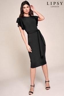 Lipsy Frill Sleeve Bodycon Midi Dress