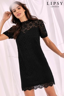 Lipsy Lace Puff Sleeve Shift Dress
