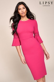 Lipsy Flute Sleeve Lace Insert Dress