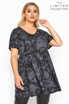 Yours Limited Collection Curve Tie Dye Pepulm Top