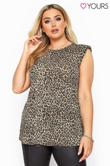 Yours Curve Leopard Print Shoulder Pad Sleeveless Top