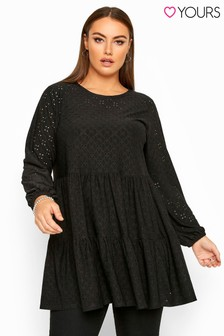 Yours Curve Balloon Sleeve Broderie Anglaise Tiered Smock Tunic
