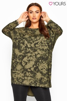 Yours Curve Tie Dye Extreme Dipped Hem Top