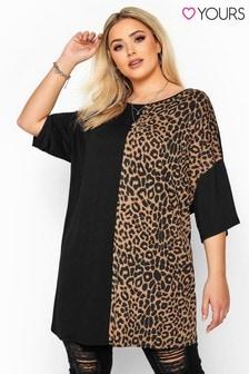 Yours Curve Leopard Print Colour Block Oversized Top