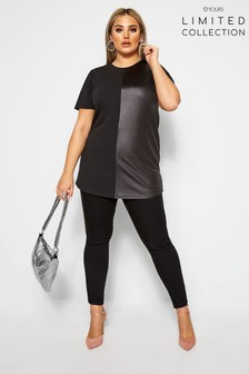 Yours Limited Curve Collection Leather Look Contrast Top