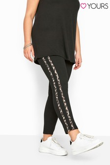 Yours Curve Animal Print Side Stripe Trousers
