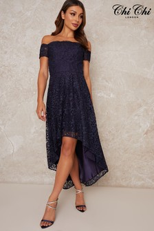 Chi Chi London Pennia Lace Dip Hem Dress