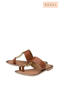 Ravel Toe Loop Croc Embossed Leather Chain Trim Sandal