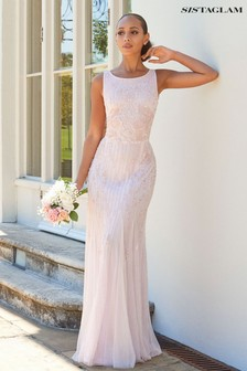Sistaglam Gracey Mesh Insert Maxi Dress