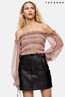 Topshop Hardware Seam PU Mini Skirt