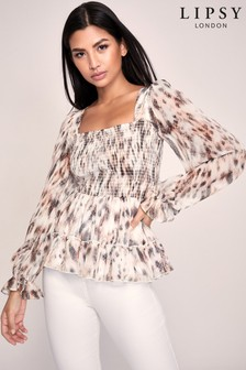 Lipsy Printed Shirred Top