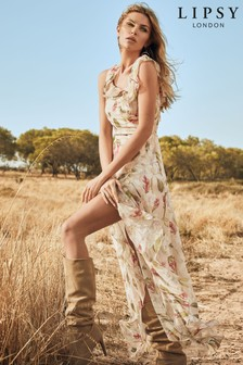 Abbey Clancy x Lipsy Printed Ruffle Maxi Dress