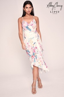 Abbey Clancy X Lipsy Printed Linen Wrap Midi Dress