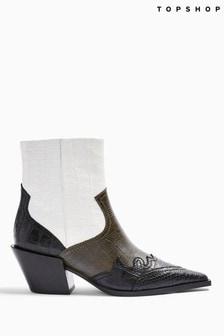 Topshop Missouri  Leather Khaki Snake Western Boots