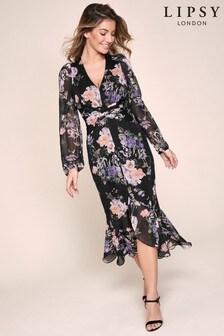 Lipsy Printed Ruched Midi Dress